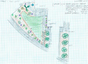 Design sketch detailing a front yard's artificial grass