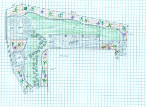 A design sketch mapping out a backyard containing stepping stone path, a spa, and a BBQ area