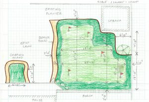 Design sketch with detailed measurements planning a putting green course