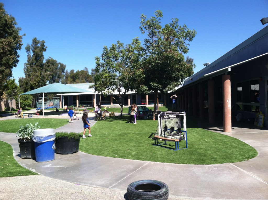 School yard with artificial grass