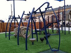 Playground on top of artificial grass
